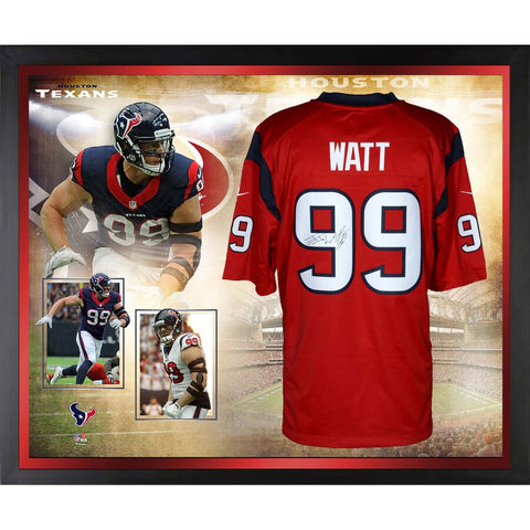 J.J. Watt Houston Texans Framed Autographed Red Nike Limited Jersey Collage