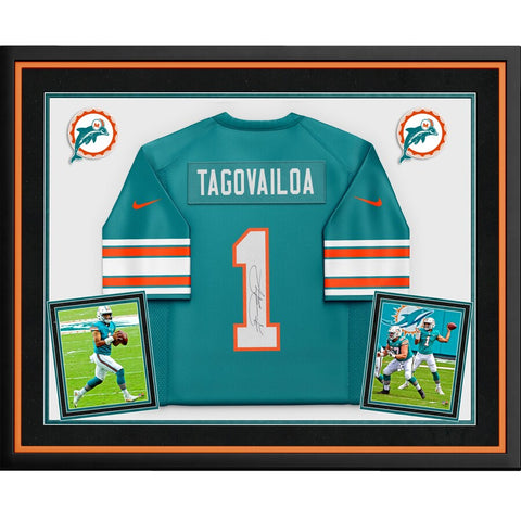 Tua Tagovailoa Miami Dolphins Deluxe Framed Autographed Aqua Throwback Nike Game Jersey