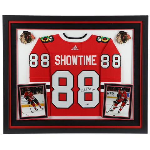"Patrick Kane Chicago Blackhawks Deluxe Framed Autographed Red Adidas Authentic ""Showtime"" Nickname Jersey"