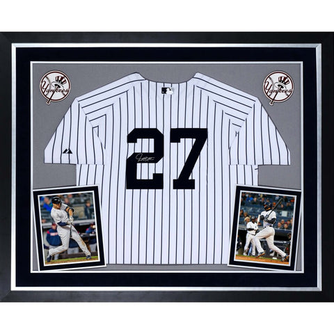 Giancarlo Stanton New York Yankees Deluxe Framed Autographed Majestic White Replica Jersey
