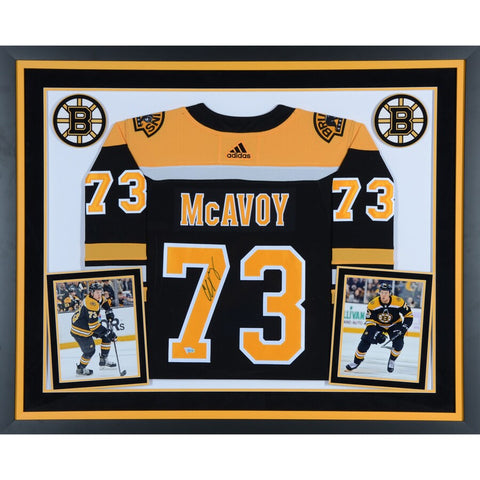 Charlie McAvoy Boston Bruins Deluxe Framed Autographed Black Adidas Authentic Jersey