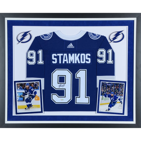 Steven Stamkos Tampa Bay Lightning Deluxe Framed Autographed Blue Adidas Authentic Jersey