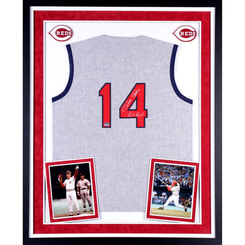 Pete Rose Cincinnati Reds Deluxe Framed Autographed 1965 Mitchell & Ness Gray Jersey with Hit King Inscription