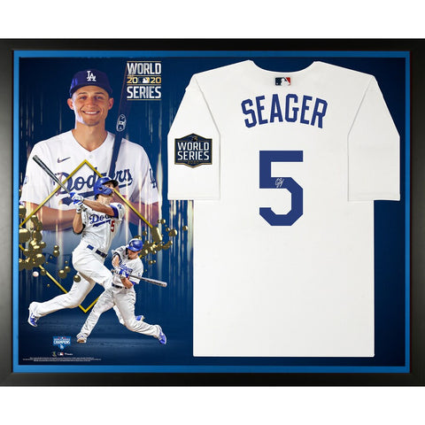 Corey Seager Los Angeles Dodgers Framed Autographed 2020 MLB World Series Champions Nike White Replica World Series Logo Jersey Collage