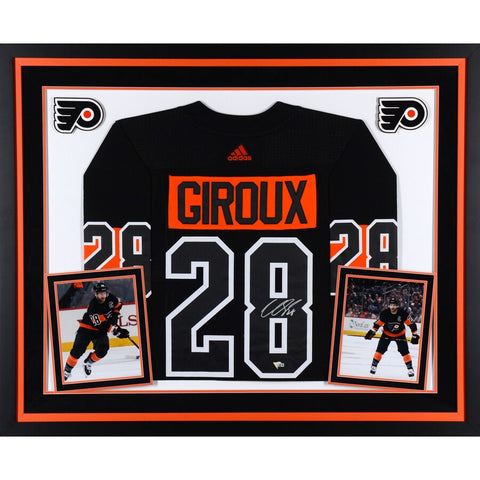 Claude Giroux Philadelphia Flyers Deluxe Framed Autographed Black Alternate Adidas Authentic Jersey
