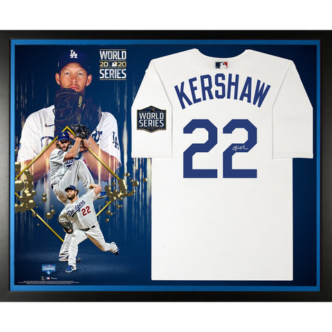 Clayton Kershaw Los Angeles Dodgers Framed Autographed 2020 MLB World Series Champions Nike White Replica World Series Logo Jersey Collage