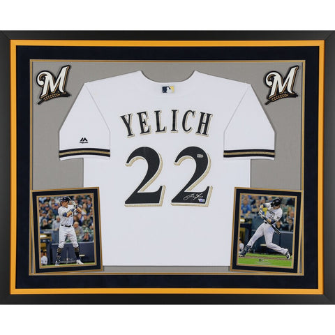 Christian Yelich Milwaukee Brewers Deluxe Framed Autographed White Majestic Replica Jersey