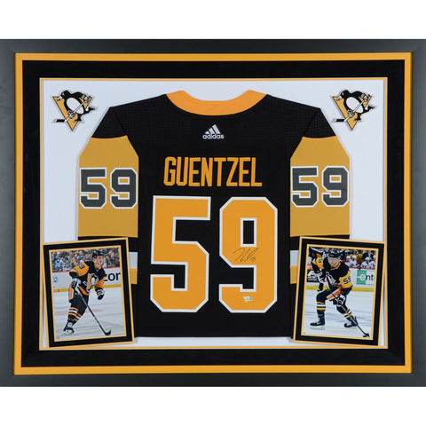Jake Guentzel Pittsburgh Penguins Deluxe Framed Autographed Black Adidas Authentic Jersey