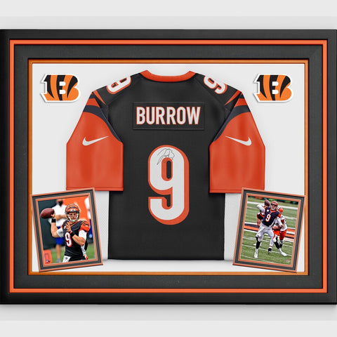 Joe Burrow Cincinnati Bengals Deluxe Framed Autographed Black Nike Game Jersey