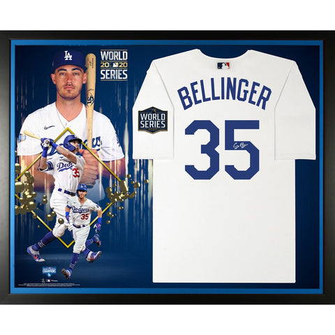 Cody Bellinger Los Angeles Dodgers Framed Autographed 2020 MLB World Series Champions Nike White Replica World Series Logo Jersey Collage