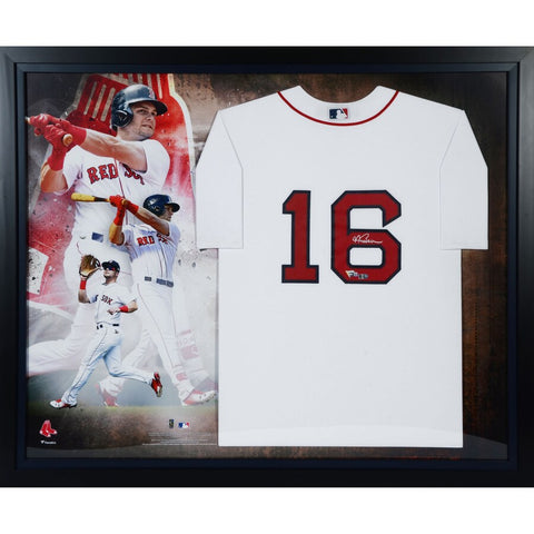 Andrew Benintendi Boston Red Sox Framed Autographed Majestic White Authentic Jersey Collage