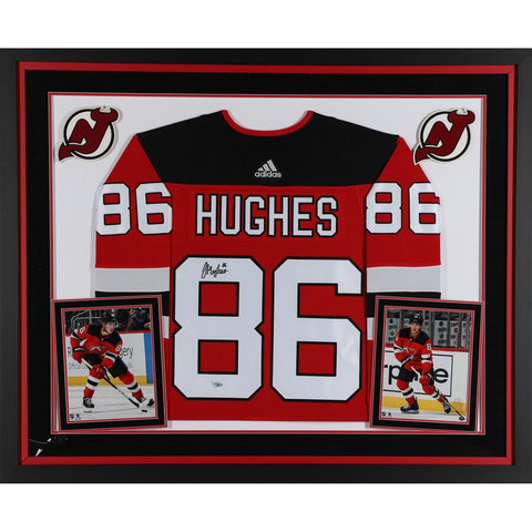 Jack Hughes New Jersey Devils Deluxe Framed Autographed Red Adidas Authentic Jersey