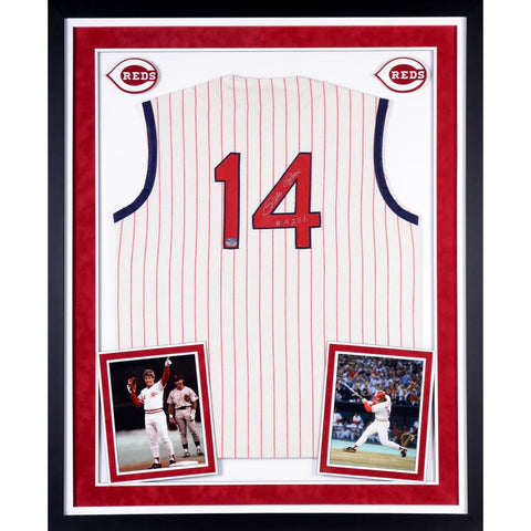 Pete Rose Cincinnati Reds Deluxe Framed Autographed 1963 Home Creme Jersey with 4256 Inscription