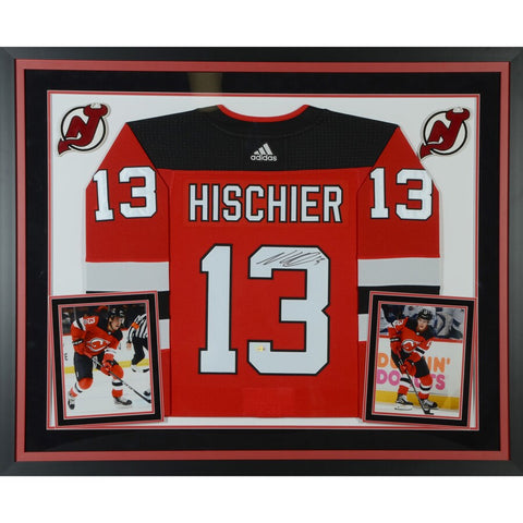 Nico Hischier New Jersey Devils Deluxe Framed Autographed Red Adidas Authentic Jersey
