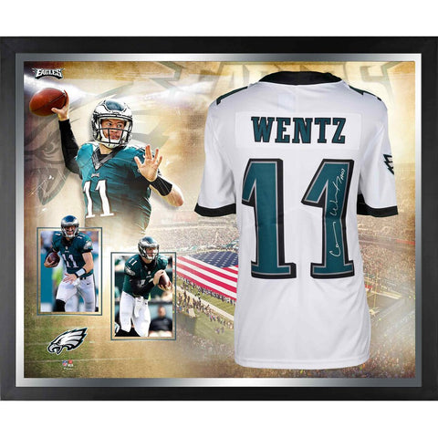 Carson Wentz Philadelphia Eagles Framed Autographed White Nike Limited Jersey Collage