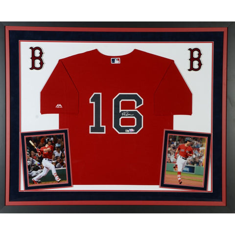 Andrew Benintendi Boston Red Sox Deluxe Framed Autographed Majestic Red Replica Jersey