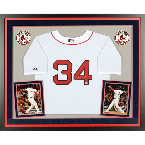 David Ortiz Boston Red Sox Deluxe Framed Autographed Majestic Authentic White Jersey