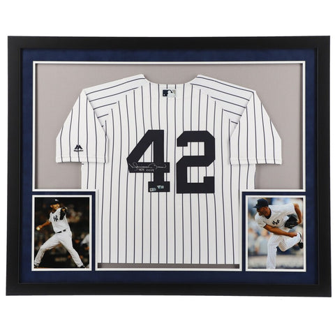 "Mariano Rivera New York Yankees Framed Autographed White Majestic Authentic Jersey with ""HOF 2019"" Inscription"