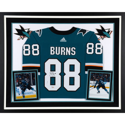 Brent Burns San Jose Sharks Deluxe Framed Autographed Teal Adidas Authentic Jersey