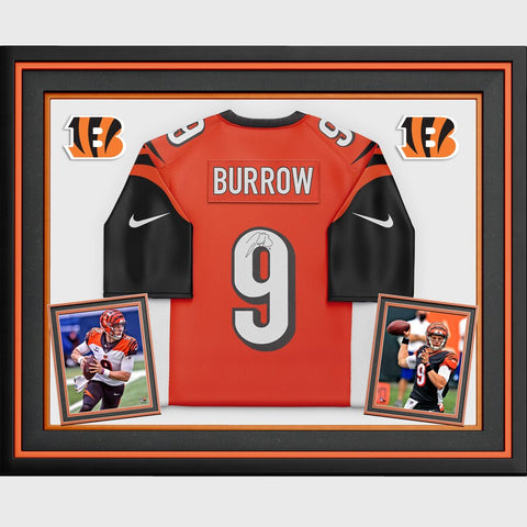 Joe Burrow Cincinnati Bengals Deluxe Framed Autographed Orange Nike Game Jersey