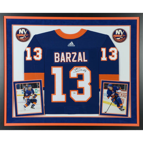Mathew Barzal New York Islanders Deluxe Framed Autographed Blue Adidas Authentic Jersey