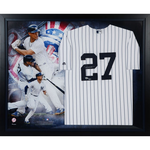 Giancarlo Stanton New York Yankees Framed Autographed Majestic White Replica Jersey Collage