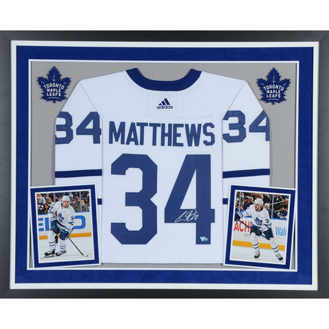 Auston Matthews Toronto Maple Leafs Deluxe Framed Autographed White Adidas Authentic Jersey