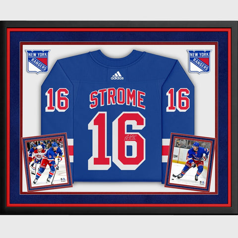 Ryan Strome New York Rangers Deluxe Framed Autographed Blue Adidas Authentic Jersey