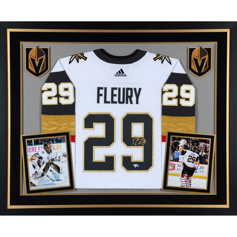 Marc-Andre Fleury Vegas Golden Knights Deluxe Framed Autographed White Adidas Authentic Jersey