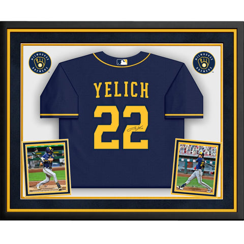 Christian Yelich Milwaukee Brewers Deluxe Framed Autographed Blue Majestic Replica Jersey