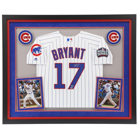 Kris Bryant Chicago Cubs Deluxe Framed Autographed 2016 MLB World Series Champions White Authentic Jersey