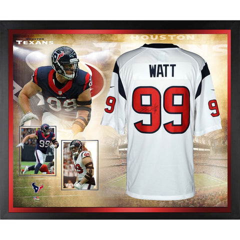 J.J. Watt Houston Texans Framed Autographed White Nike Limited Jersey Collage