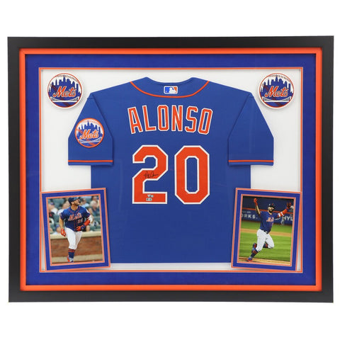 Pete Alonso New York Mets Deluxe Framed Autographed Nike Blue Authentic Jersey