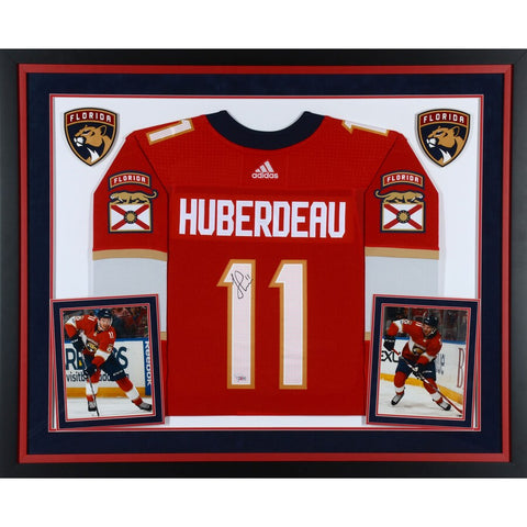 Jonathan Huberdeau Florida Panthers Deluxe Framed Autographed Red Adidas Authentic Jersey