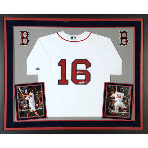 Andrew Benintendi Boston Red Sox Deluxe Framed Autographed Majestic White Replica Jersey