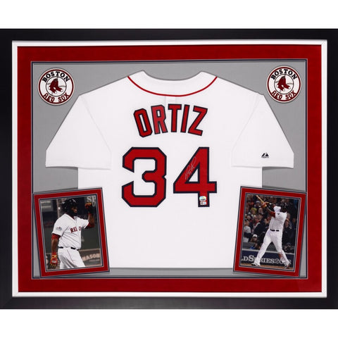 David Ortiz Boston Red Sox Deluxe Framed Autographed Majestic Home Jersey