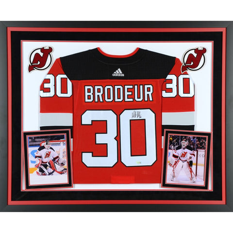 Martin Brodeur New Jersey Devils Deluxe Framed Autographed Red Adidas Authentic Jersey