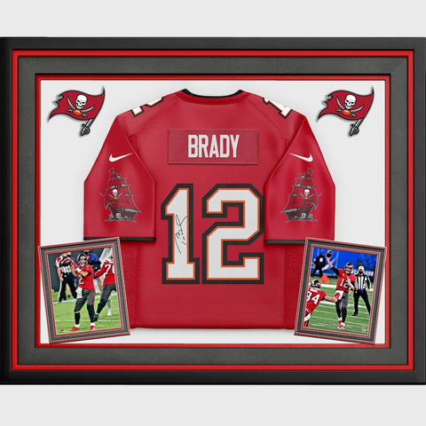 Tom Brady Tampa Bay Buccaneers Deluxe Framed Autographed Red Nike Game Jersey