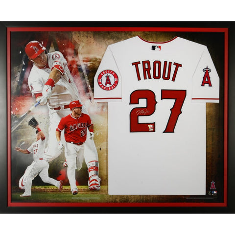 Mike Trout Los Angeles Angels Framed Autographed Nike White Authentic Jersey Collage
