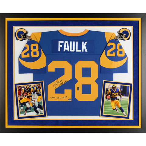 "Marshall Faulk St. Louis Rams Framed Autographed Mitchell & Ness Authentic Jersey with ""2000 NFL MVP, HOF 2011"" Inscriptions"