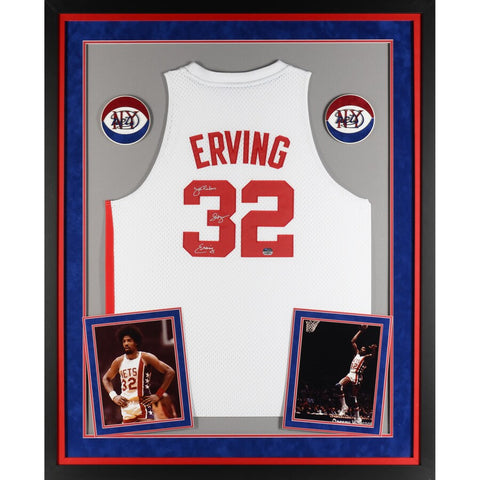 "Julius Erving New York Nets Deluxe Framed Autographed Adidas White Swingman Jersey with ""Dr. J"" Inscription"