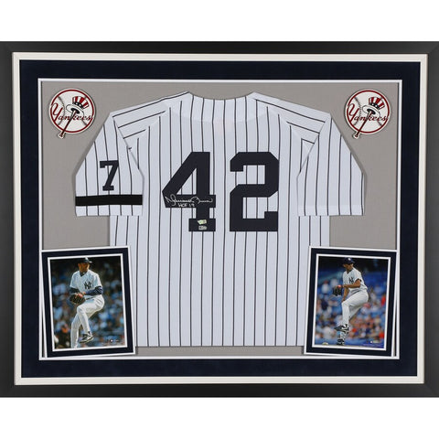 "Mariano Rivera New York Yankees Deluxe Framed Autographed White Mitchell & Ness Jersey with ""HOF 19"" Inscription"
