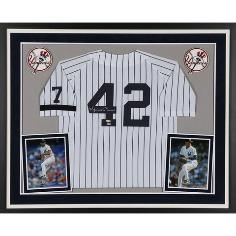 Mariano Rivera New York Yankees Deluxe Framed Autographed White Mitchell & Ness Jersey