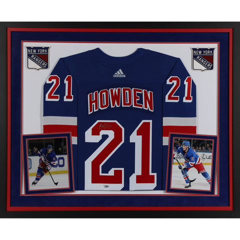 Brett Howden New York Rangers Deluxe Framed Autographed Blue Adidas Authentic Jersey
