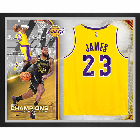LeBron James Los Angeles Lakers Framed Autographed Gold Nike Authentic 2020 NBA Finals Champions Jersey Collage - Limited Edition of 23
