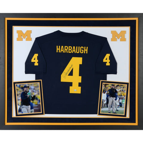 Jim Harbaugh Michigan Wolverines Deluxe Framed Autographed Jordan Brand Jersey