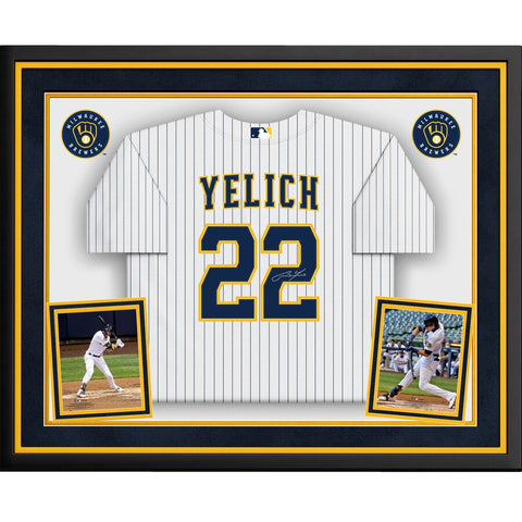 Christian Yelich Milwaukee Brewers Deluxe Framed Autographed White Pinstripe Majestic Replica Jersey