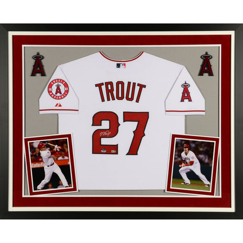 Mike Trout Los Angeles Angels Deluxe Framed Autographed Nike White Authentic Jersey
