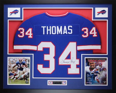 Thurman Thomas Autographed & Framed Blue Bills Jersey Auto JSA Certified D3-L