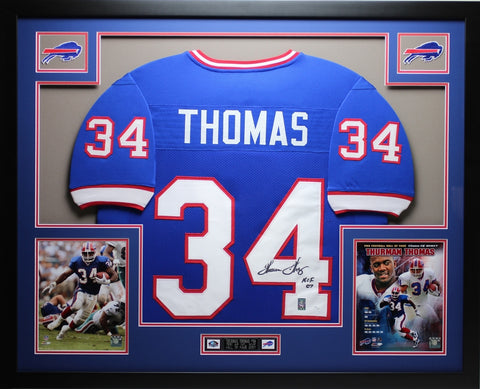Thurman Thomas Autographed HOF 07 Framed Blue Bills Jersey Auto JSA COA (D2-L)